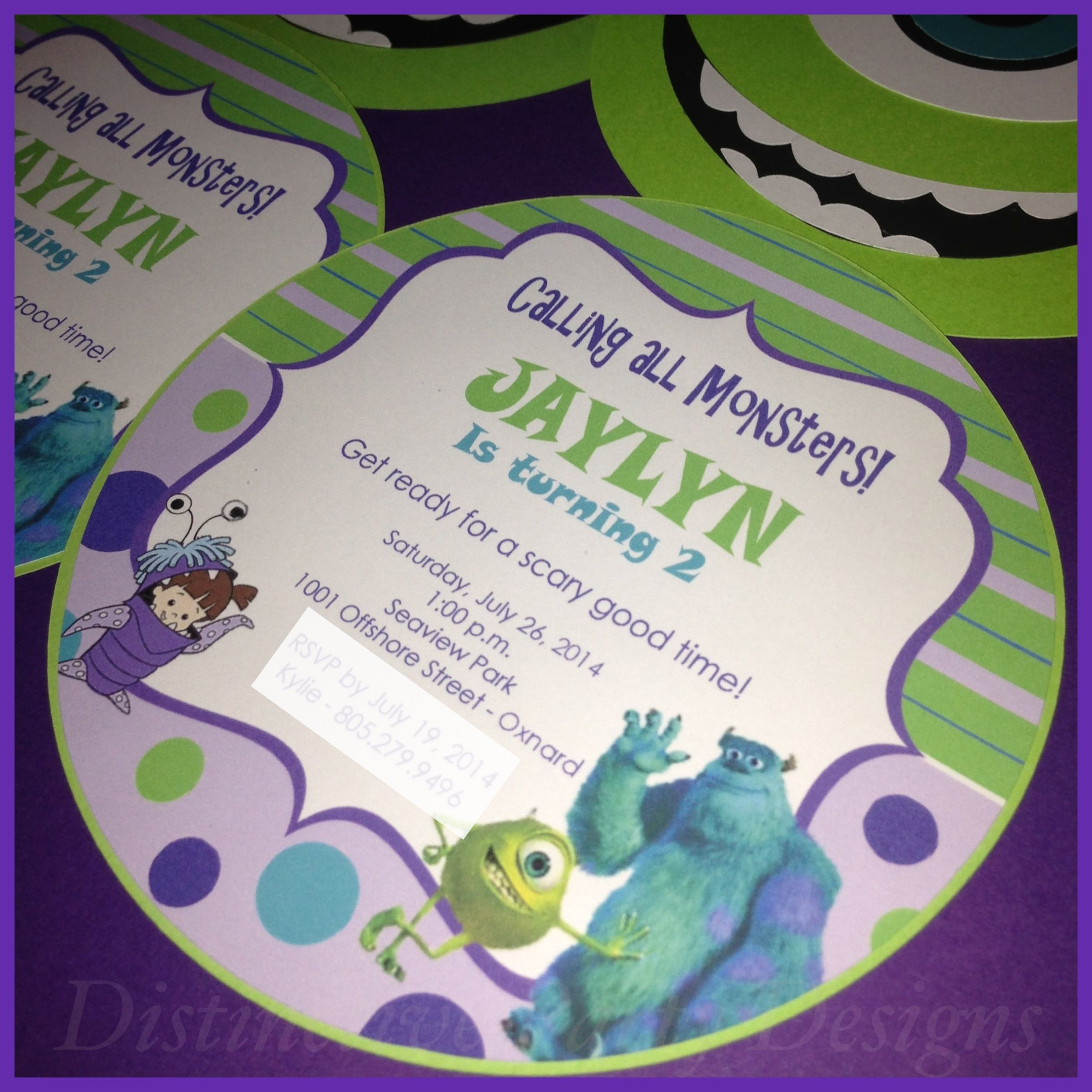 Monsters Inc. inspired birthday party invitations. By Distinctive Party Designs.