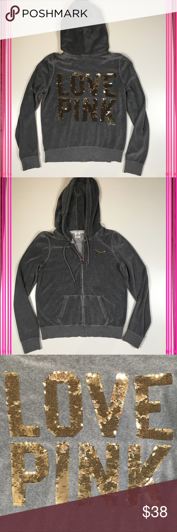 VS Pink Grey Velour Sequin Hoodie | Pink sequin, Pink grey and vs Pink