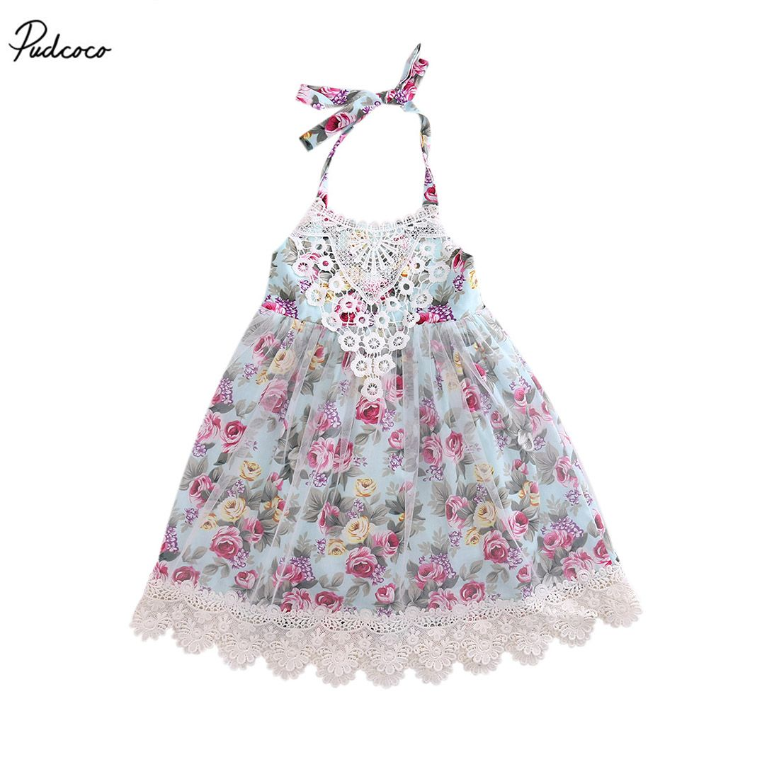 Lace floral dress kids baby girls sleeveless strap tulle party