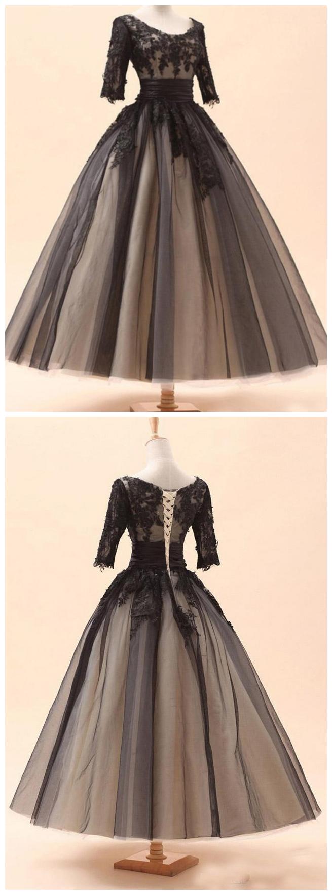 Ball gown evening dresses tea length three quarter prom dresses