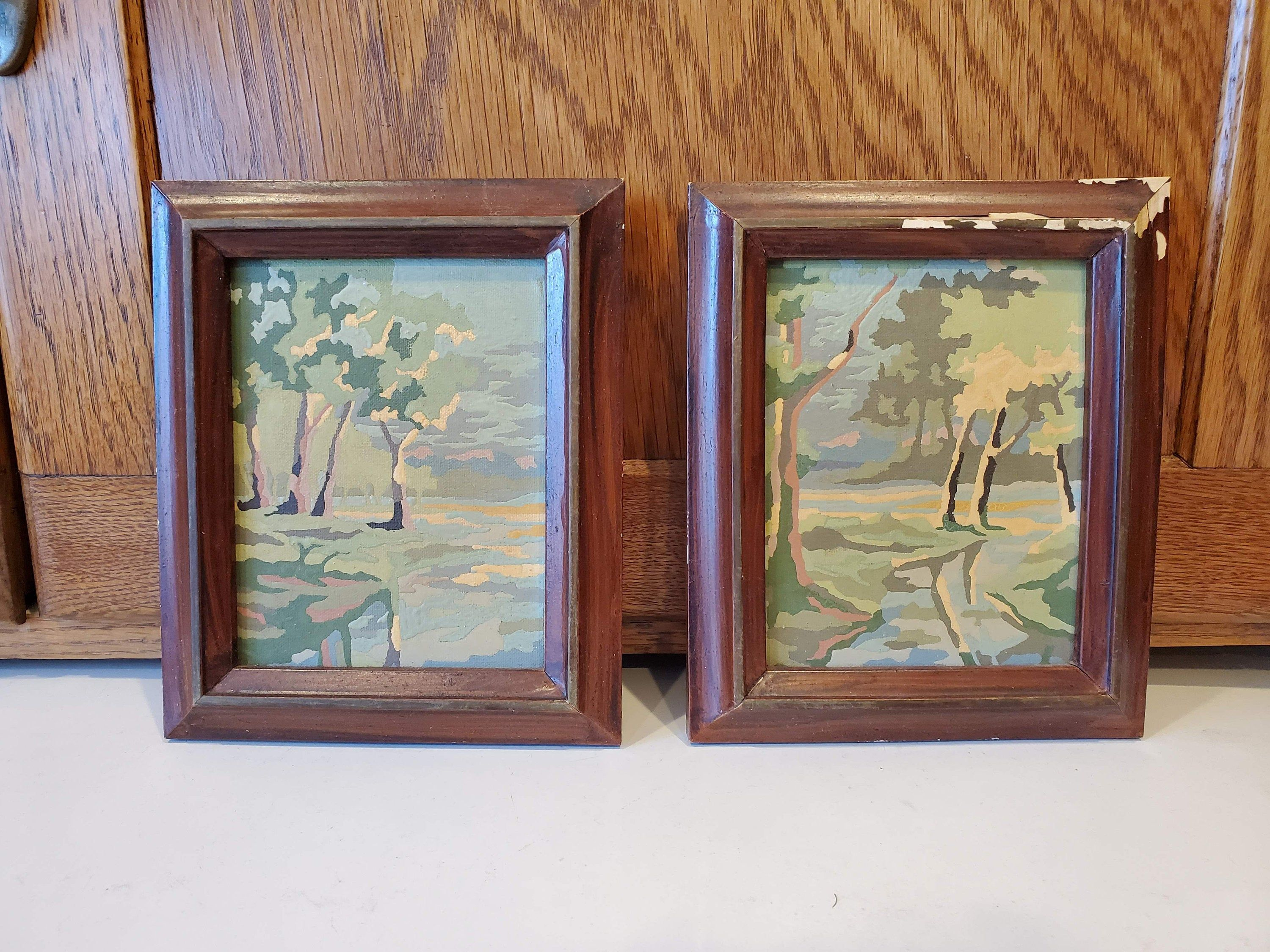 Vintage Paint By Number Small Wood Framed Pair Of Two Landscapes Trees Beside Reflected In Stream H In 2020 Vintage Art Prints Vintage Painting Painting Frames