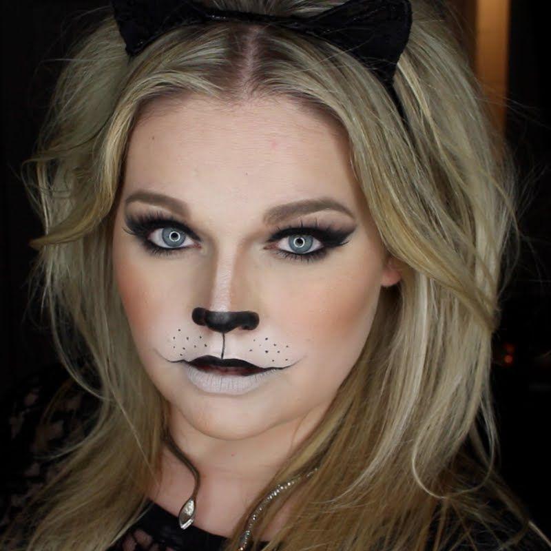 Easy Wearable Black Cat Halloween Makeup