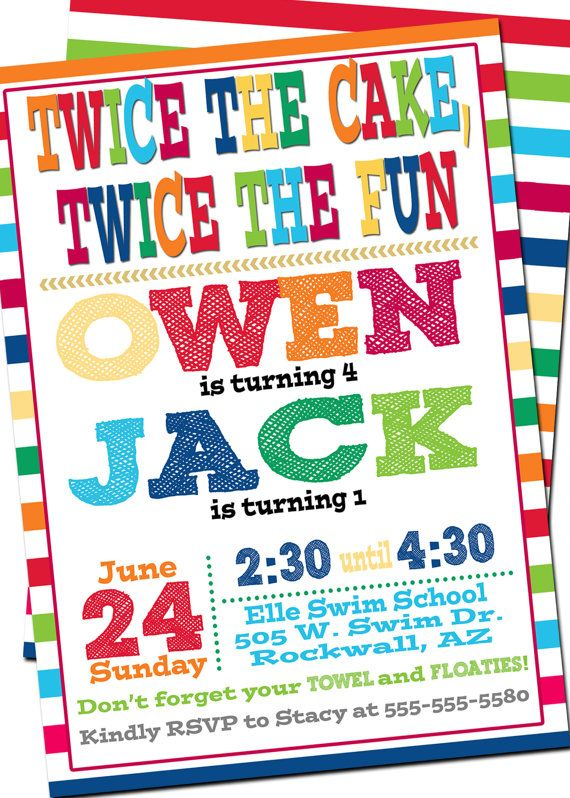 Bright Joint Birthday Invitation Combined Double Sibling Colorful Cu