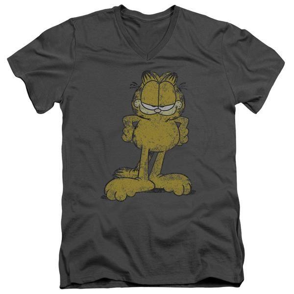 GARFIELD / BIG OL' CAT - S/S ADULT V-NECK - CHARCOAL - 2X  BIG OL' CAT | Cartoon T-Shirts | Mopixiestore.com