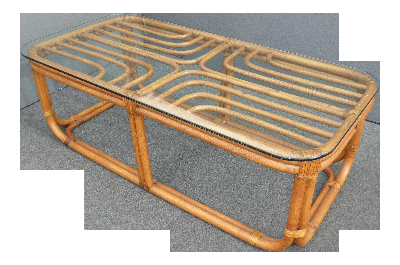 Vintage Bamboo Gl Top Coffee Table On Chairish