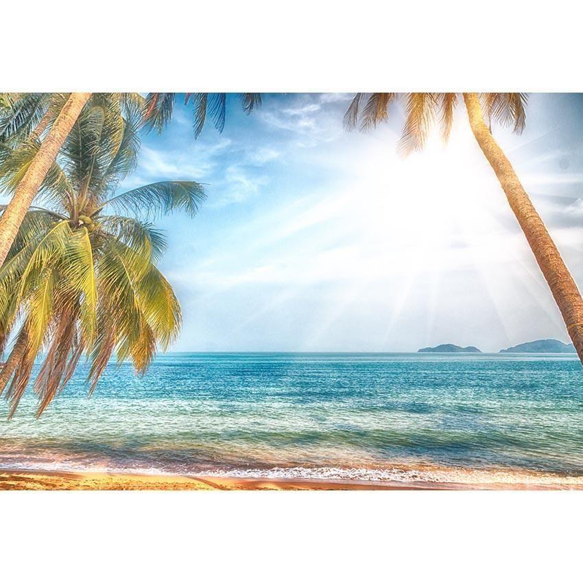 Blue Sea Summer Sunshine Coconut Tree Backdrop Vacation Scenery