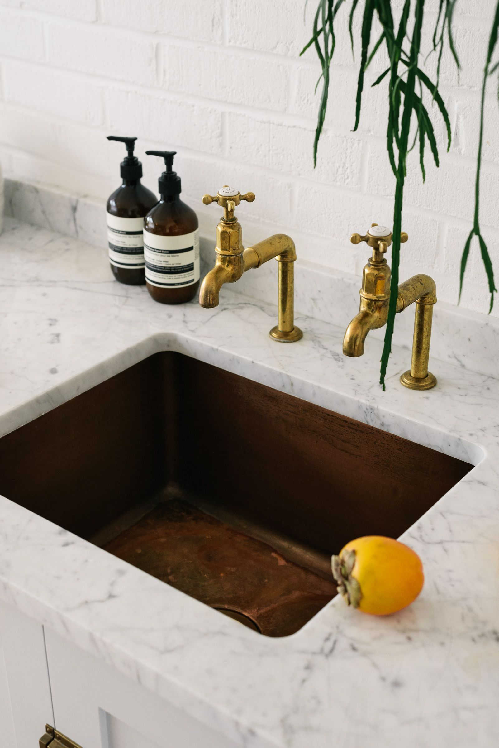 aged copper sinks and aged brass taps go so beautifully. Black Bedroom Furniture Sets. Home Design Ideas