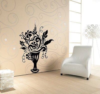 VASE WITH FLOWERS FLORAL DESIGN WALL VINYL STICKER DECALS ART MURAL ...