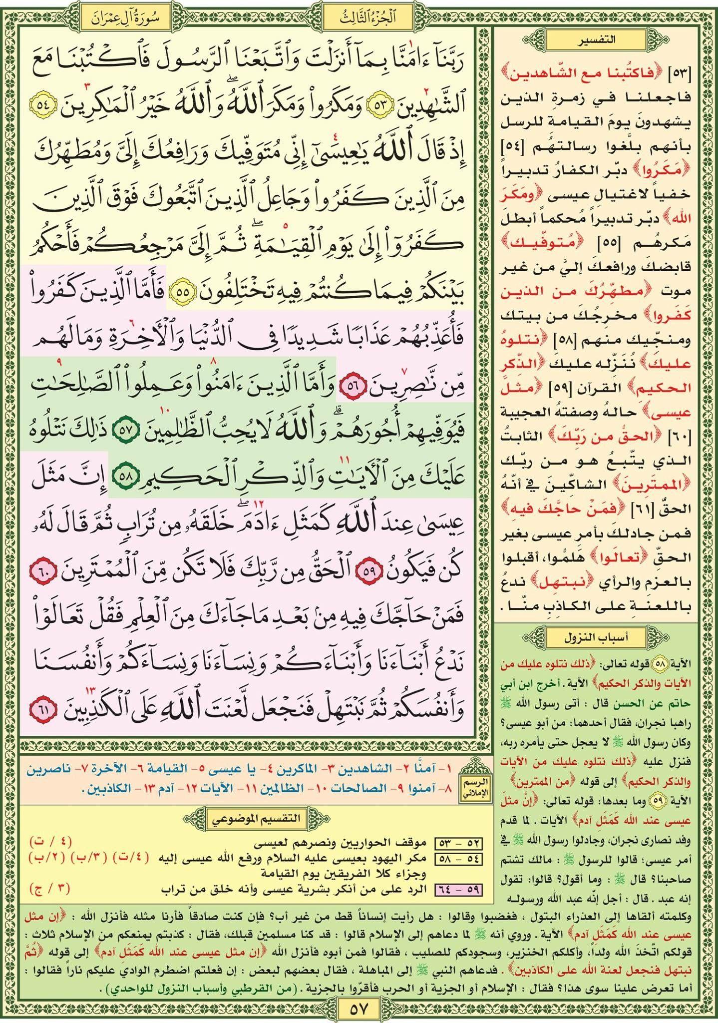 ٥٣ ٦١ آل عمران مصحف التقسيم الموضوعي للحافظ المتقن Quran Verses Quran Book Holy Quran Book