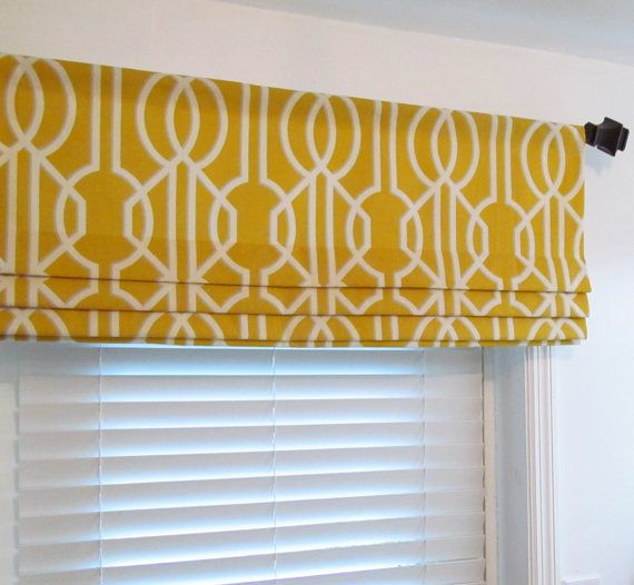 Contemporary Kitchen Window Treatments: Contemporary FAUX ROMAN SHADES Modern Flat Shade/ Lined Mock