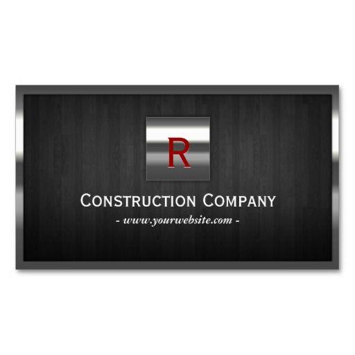 Steel & Wood Monogram Construction Business Card