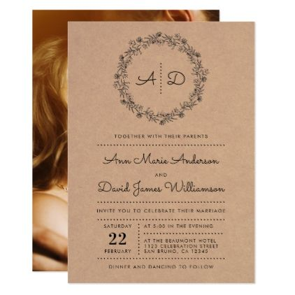 Rustic floral wreath wedding photo invitation stopboris Images