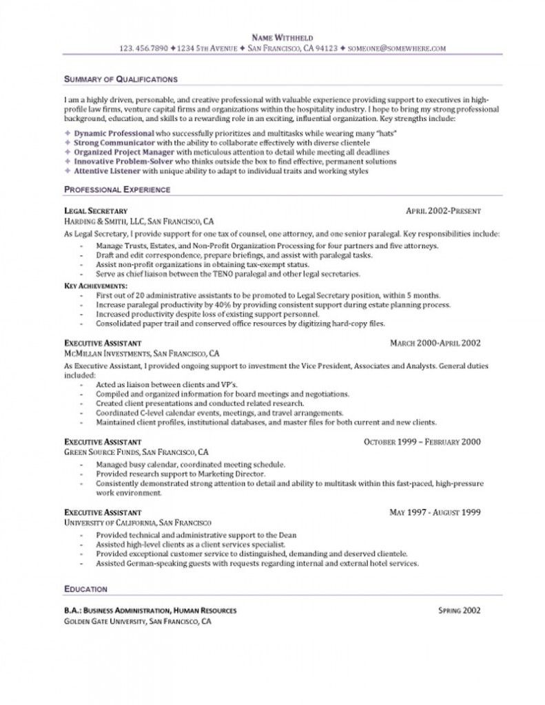 Administrative Assistant Sample Resume Executive Assistant Resume  Resume Samples  Pinterest