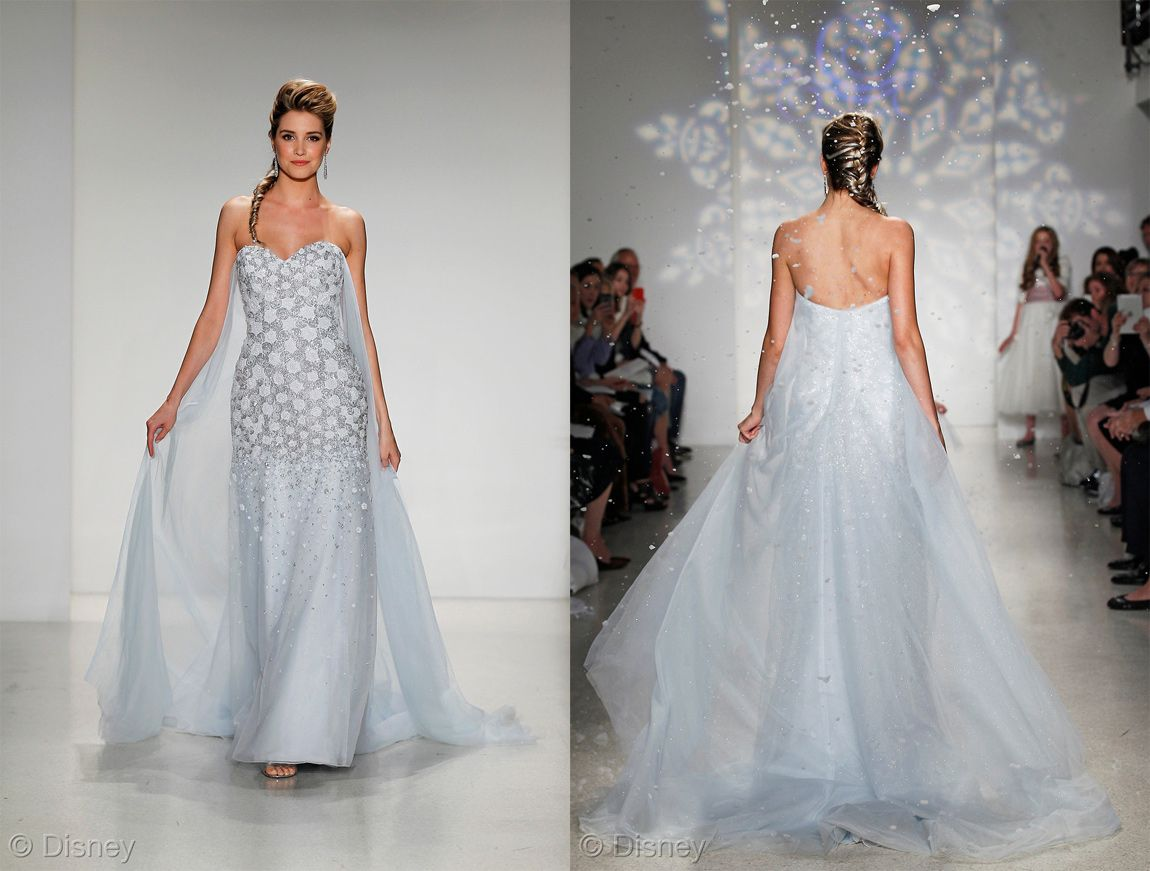 Disney princess wedding dresses alfred angelo disney wedding see the frozen inspired elsa wedding dress by alfred angelo from every angle as presented at 2015 bridal fashion week ombrellifo Images