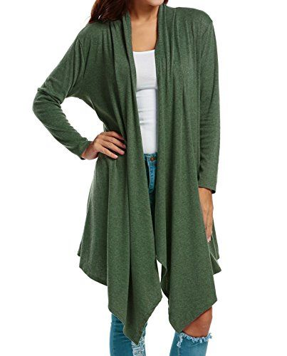 Zeagoo Women Long Sleeve Draped Open Front Fall Cardigan Sweater ...
