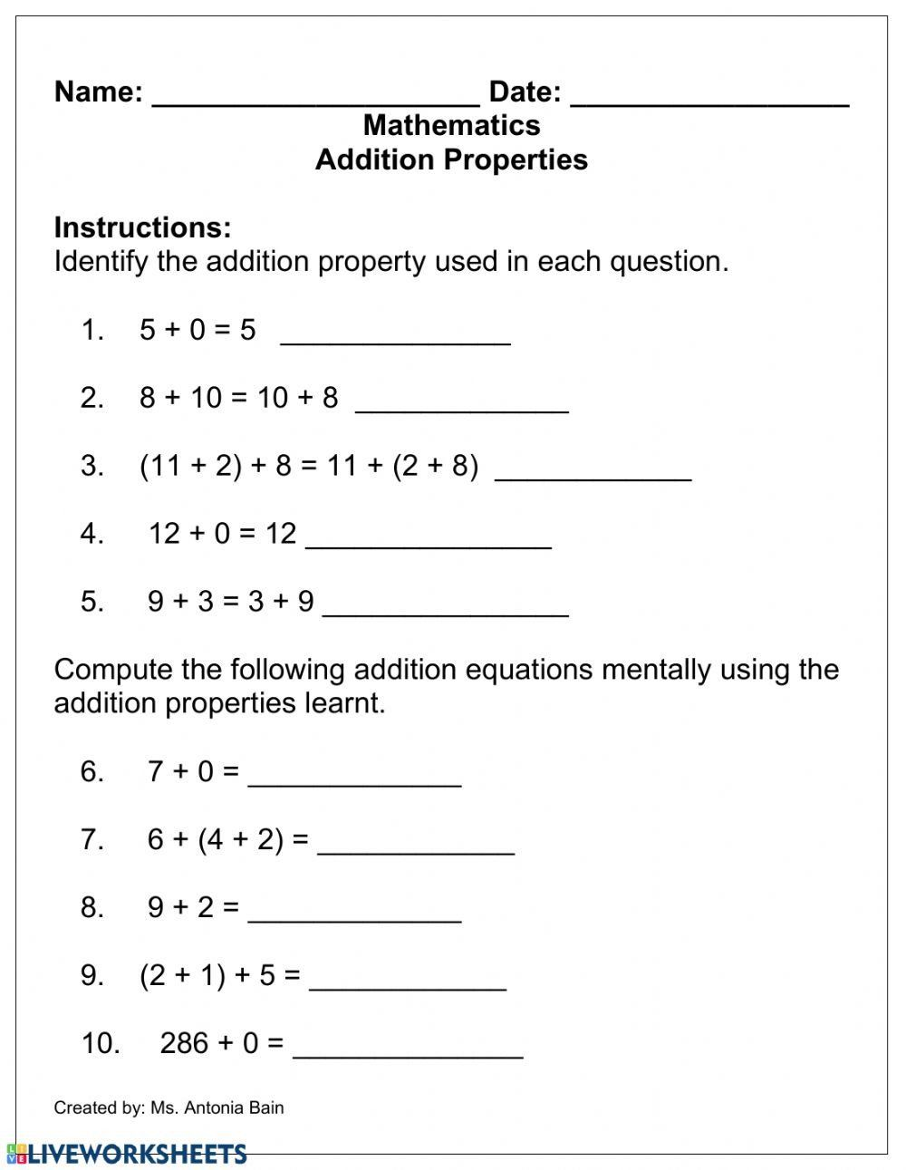 Addition And Multiplication Properties Worksheets Addition Properties Interactive Work In 2021 Properties Of Addition Addition Worksheets Identity Property Of Addition [ 1291 x 1000 Pixel ]