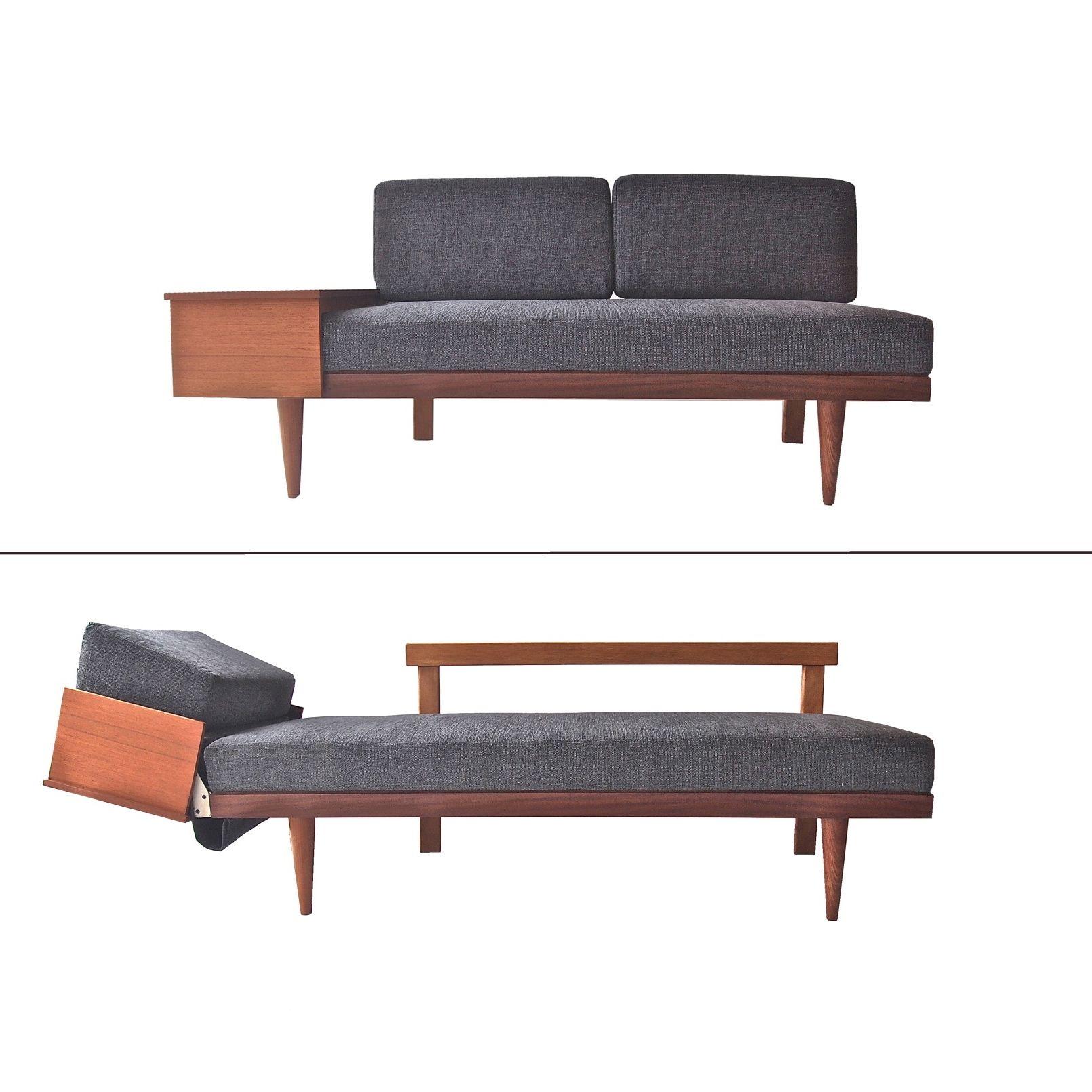daybed teak sofa mid century danish scandinavian