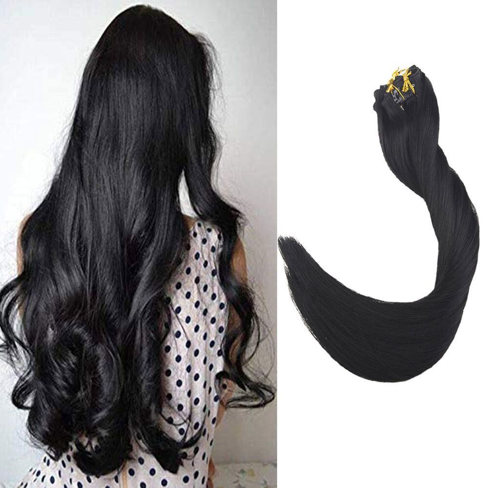 Full Head Double Weft Clip in Human Hair Extensions Color