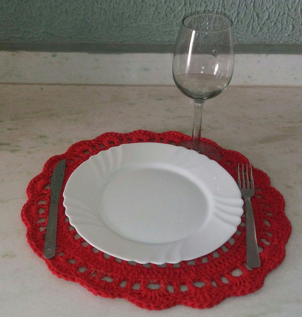 Jogo americano de croche vermelho