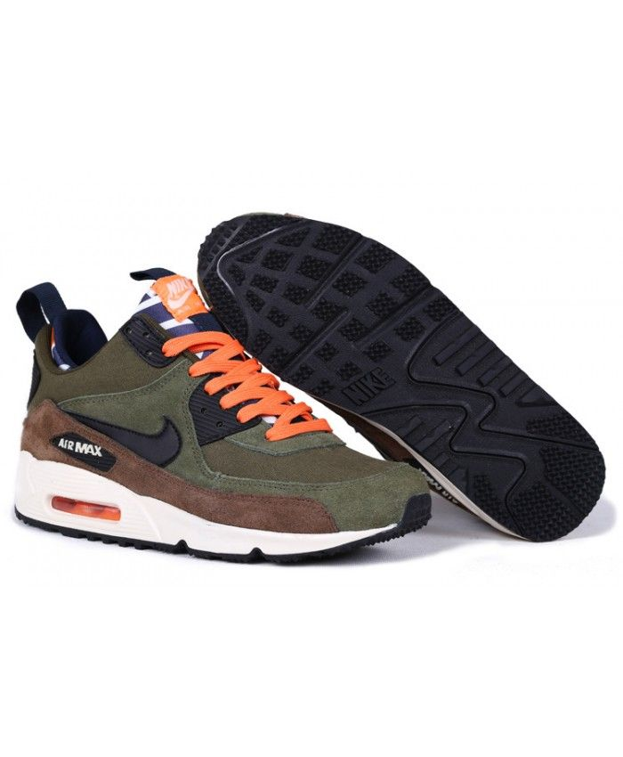 cheaper e79ae 9d267 Homme Nike Air Max 90 Sneakerboot Pour Army Vert Noir Orange Chaussures
