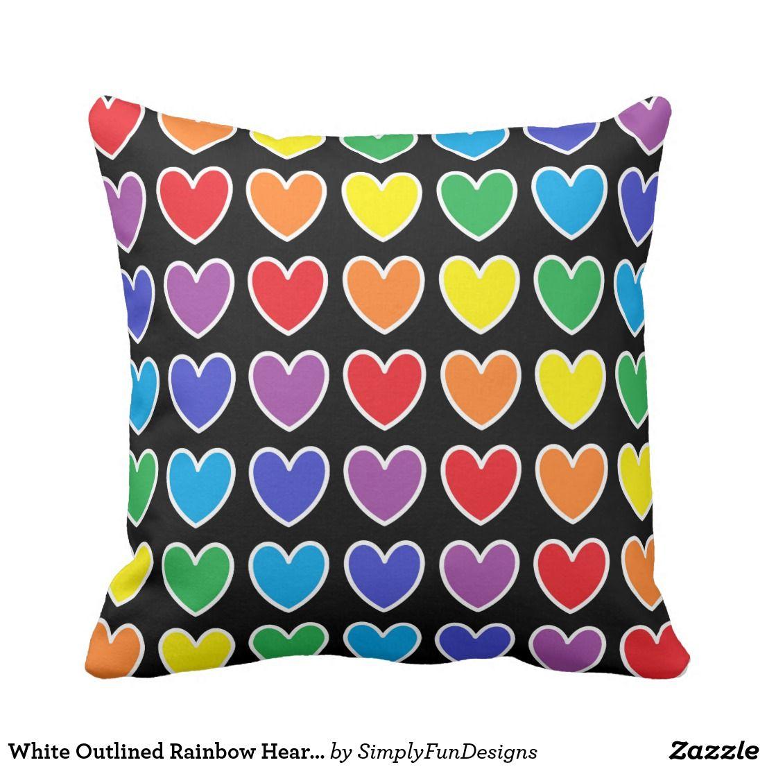 White Outlined Rainbow Hearts Throw Pillow Pillow Throwpillow Decorative Homedecor Interiordesign Throw Pillows Pillows Custom Throw Pillow