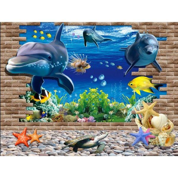 Papier peint trompe l\'oeil 3D - Paysage fond marin - Dauphins 005 ...