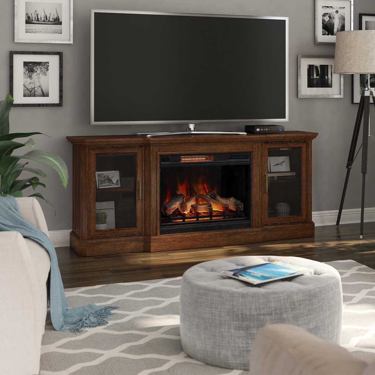Hershel Tv Stand With Classicflame Electric Fireplace Twin Star Home In 2020 Brown Living Room Fireplace Tv Stand Tv Stand Designs