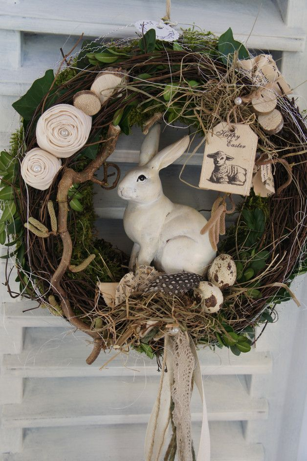 "Photo of Easter decoration – door wreath ""Hare greets …."" – a designer piece by Tro …"