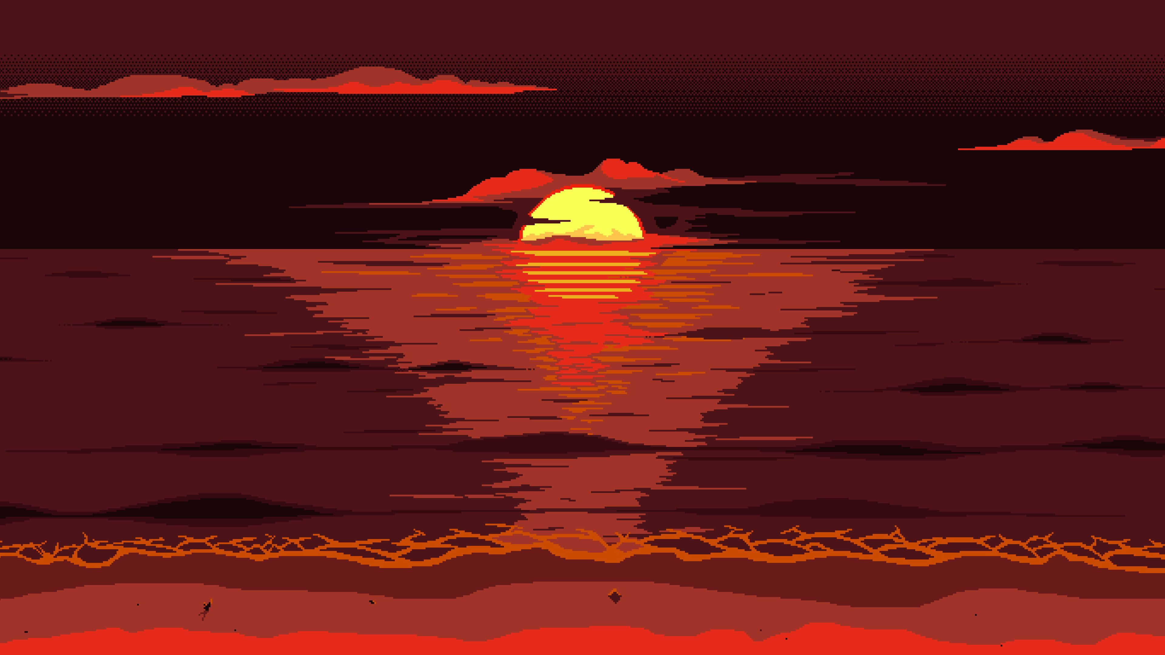 Red Dark Pixel Art Sunset 4k Sunset Wallpapers Minimalist Wallpapers Minimalism Wallpapers Hd Wallpapers Hd Sunset Wallpaper Pixel Art Minimalist Wallpaper