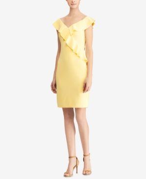 136aaa7399a2 Lauren Ralph Lauren Crepe Off-The-Shoulder Dress, Regular & Petite Sizes -  Dresses - Petites - Macy's
