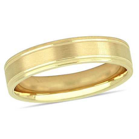 Asteria Men S 10 K Yellow Gold 5mm Lightweight Wedding Band Yellow