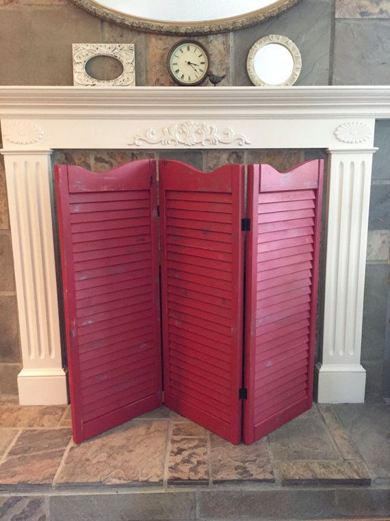 Room Divider Hand Painted Screen Red Distressed Tri Fold Shutter