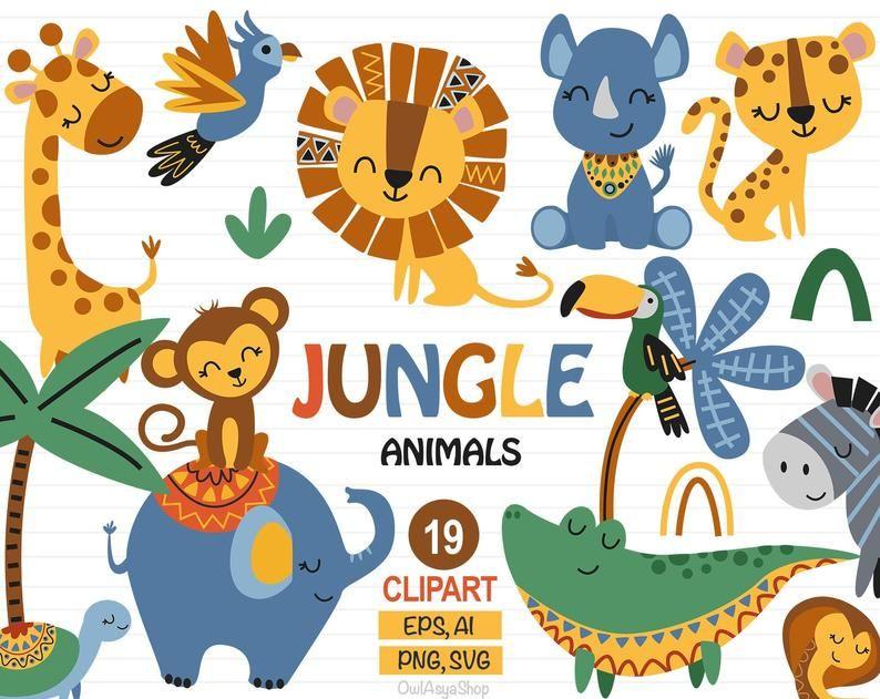 Jungle Animal Clipart Safari Clipart Droles Animaux Zoo Etsy Animal Clipart Zoo Animals Clip Art