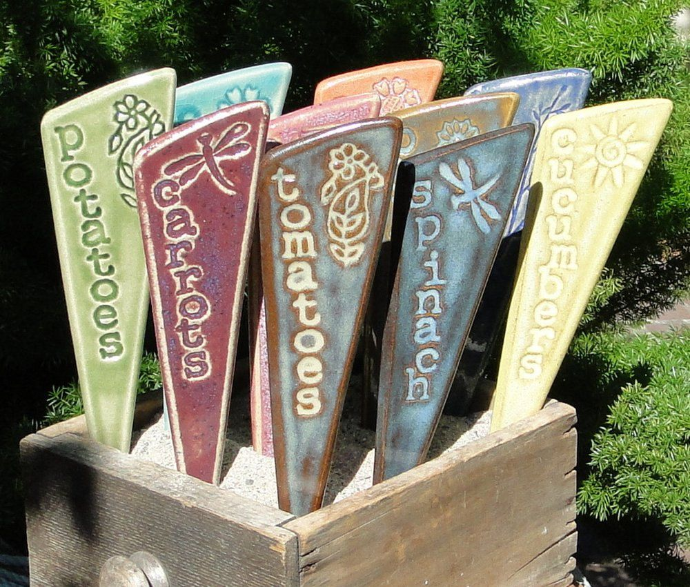 Herb Garden Markers / Plant Stakes   A Set Of 3 Ceramic Garden Markers.  $21.00