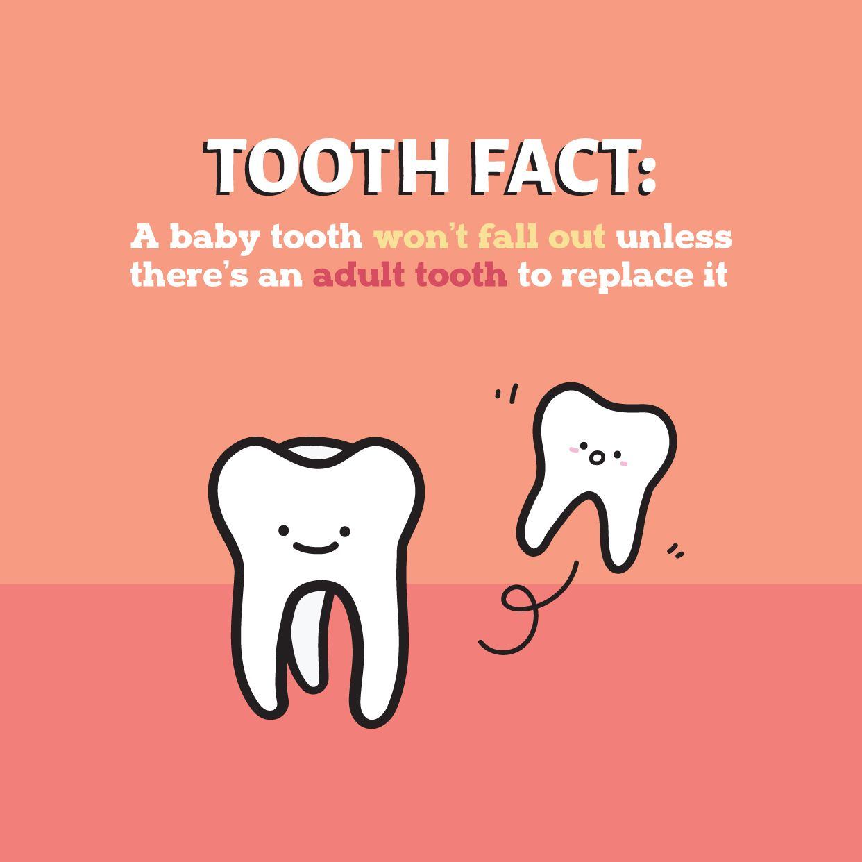 Most Baby Teeth Fall Out As A Result Of Permanent Teeth Pushing Up From Underneath If Your Child Has Any Accid Dental Facts Childrens Dental Health Dental Fun