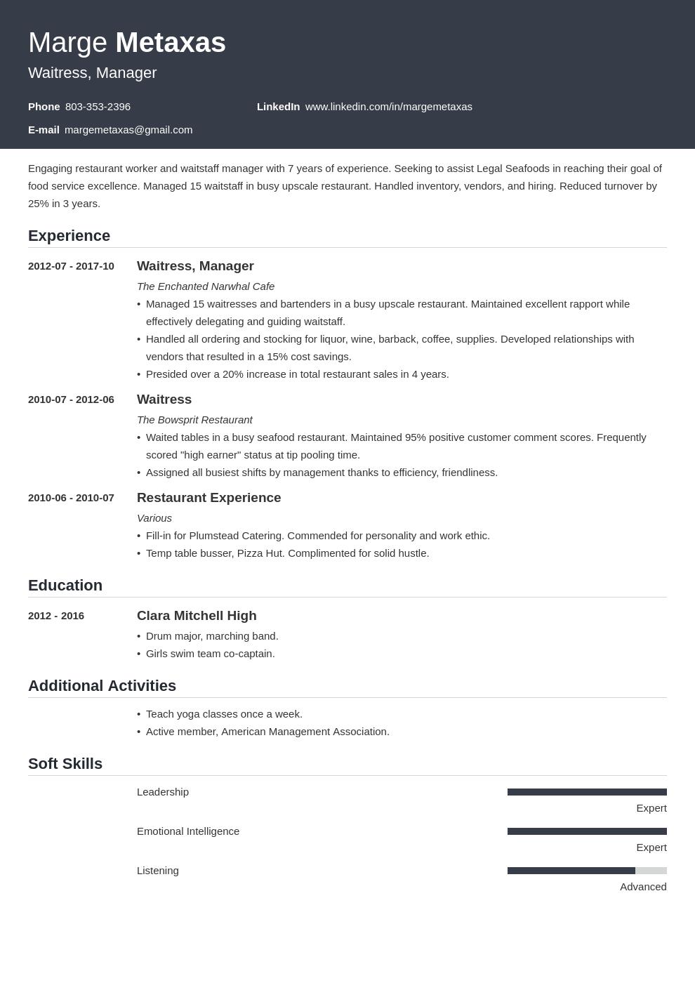 Restaurant Resume Example Template Influx Resume Examples Restaurant Resume Job Resume Examples
