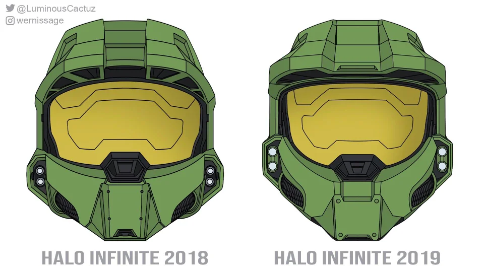 A Comparison Of Chief S Helmet From The 2018 Halo Infinite Trailer And His New One Which One Do You Guys Like Better I M Aware Of That The Halo Helmet Guys