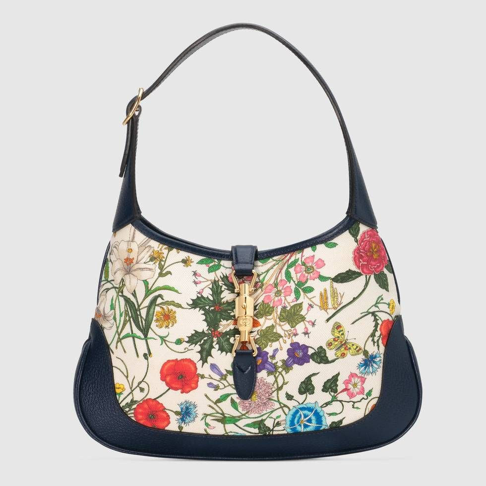 d3d4754372b Shop the Jackie medium Flora hobo bag by Gucci. Debuting in the Cruise 2019  collection