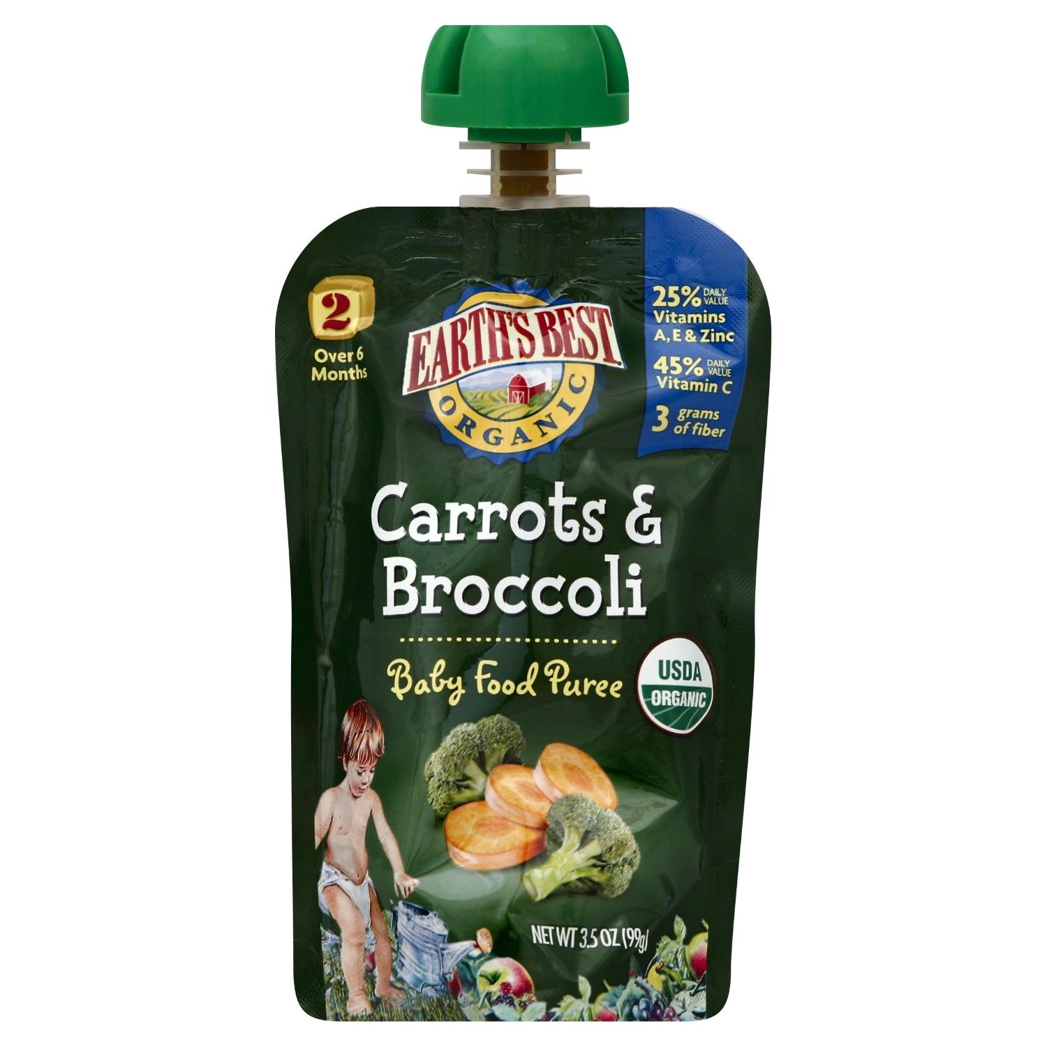 Earths best carrot broccoli puree pouch 35 oz pack of