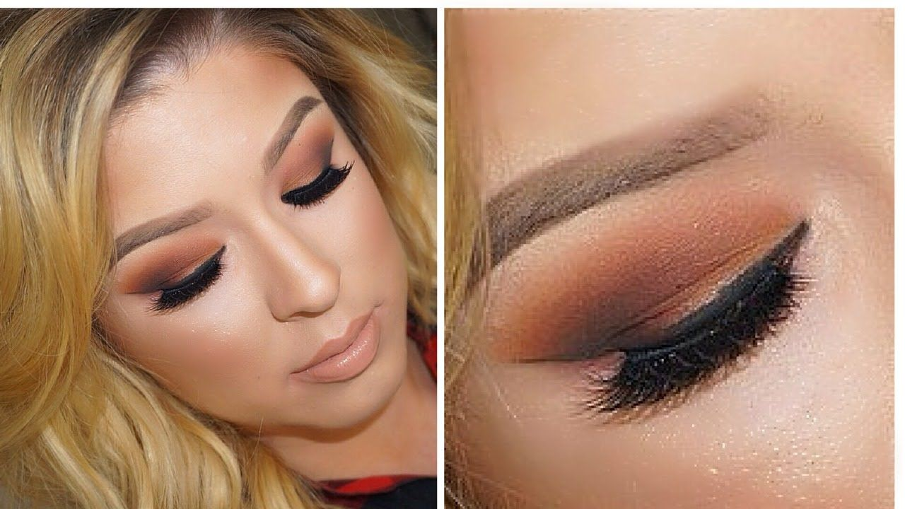 Orange and Brown Fall makeup tutorial. Step by Step