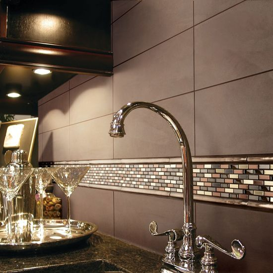 Kitchen Backsplash With Glass Tile Accents: Now This Is Sharp. Copper Blend Brix Accent With Veranda