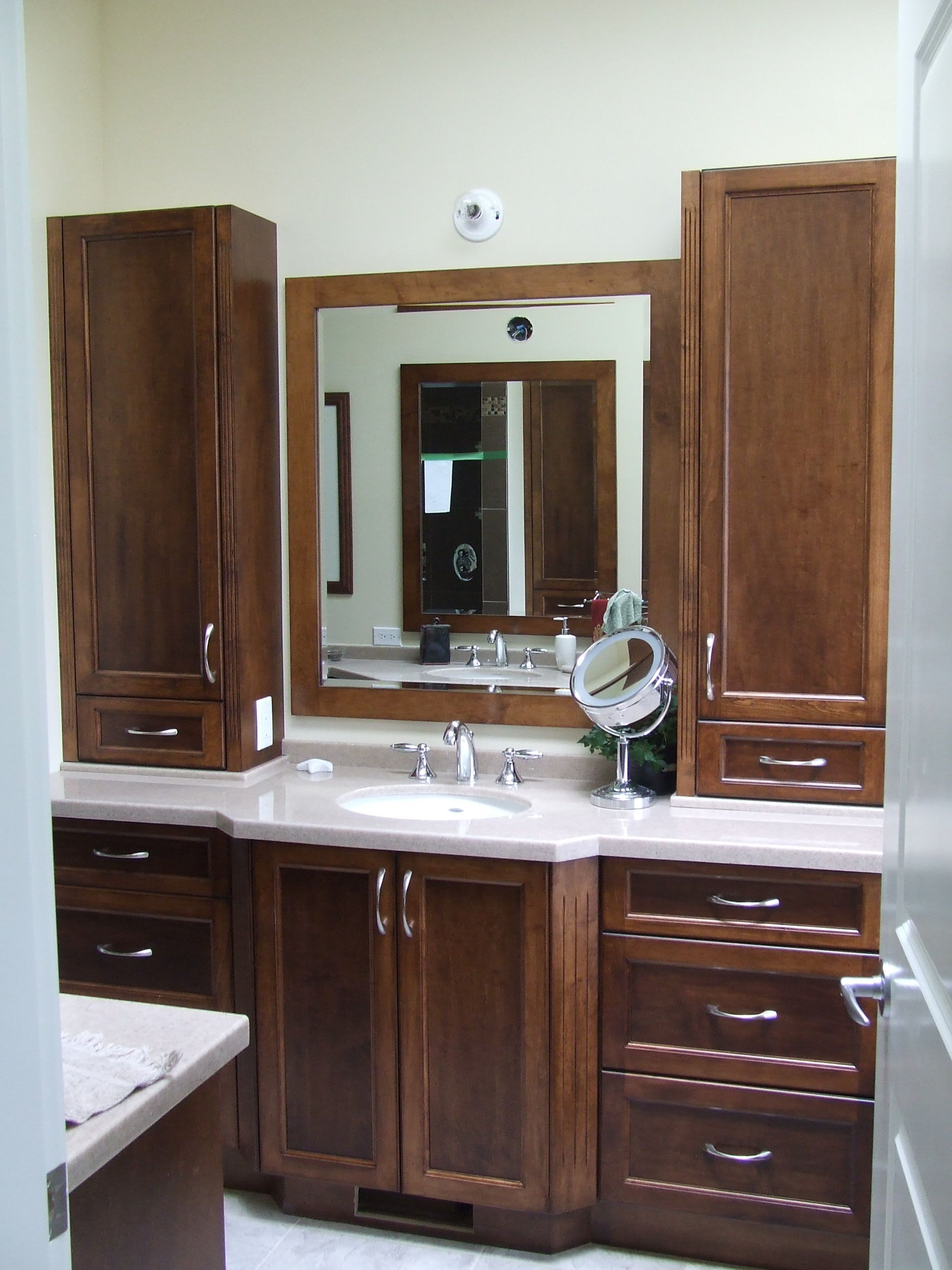 This Ensuite was a custom color on a Maple Shaker door Mirror frame made to Bathroom VanitiesMirrors