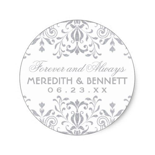 Wedding Favor Stickers Silver Vintage Glamour Zazzle Com With Images Wedding Stickers Labels Wedding Favor Stickers Gold Wedding Invitations Design