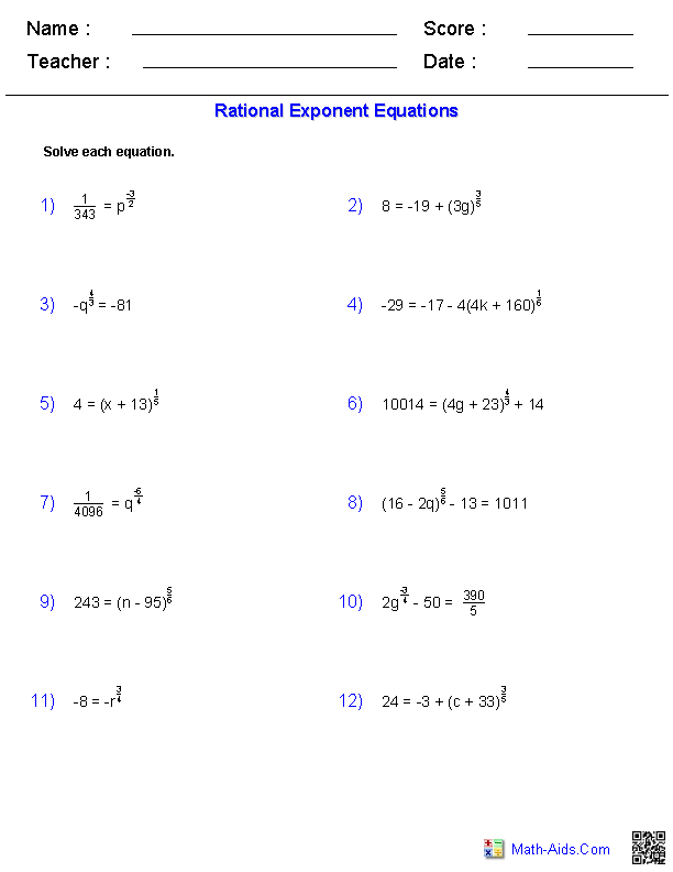 Rational Exponent Equations Worksheets | Education | Pinterest