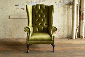 Modern Queen Anne Green Velvet Chesterfield Wing Armchair Extra High Back Wing Chair Velvet Wing Chair Green Velvet Fabric