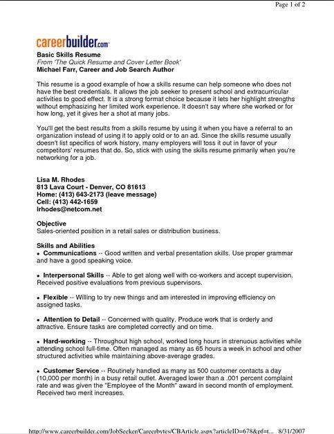 Basic Resume Examples Resume Example Resume Skills Basic Resume Examples Resume Skills Section