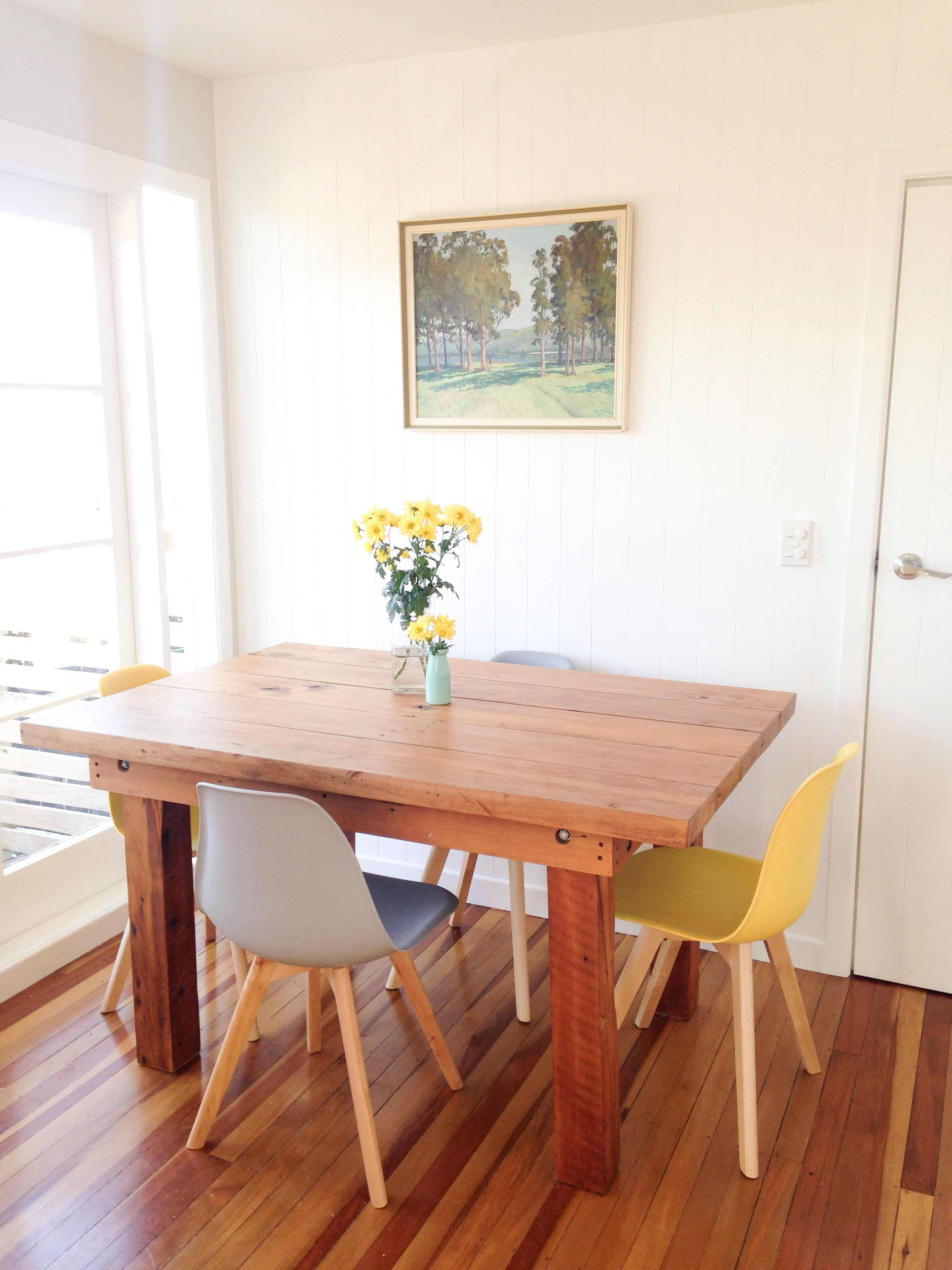 Nz Native Timber Table Rimu Kauri Grey Chairs Yellow Chairs