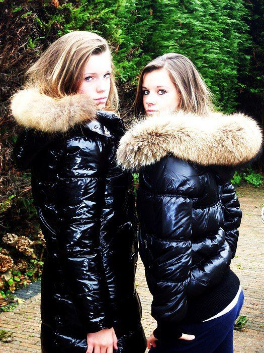 e6a182346 Black fur-hooded down coat and black fur-hooded down jacket | Snow ...