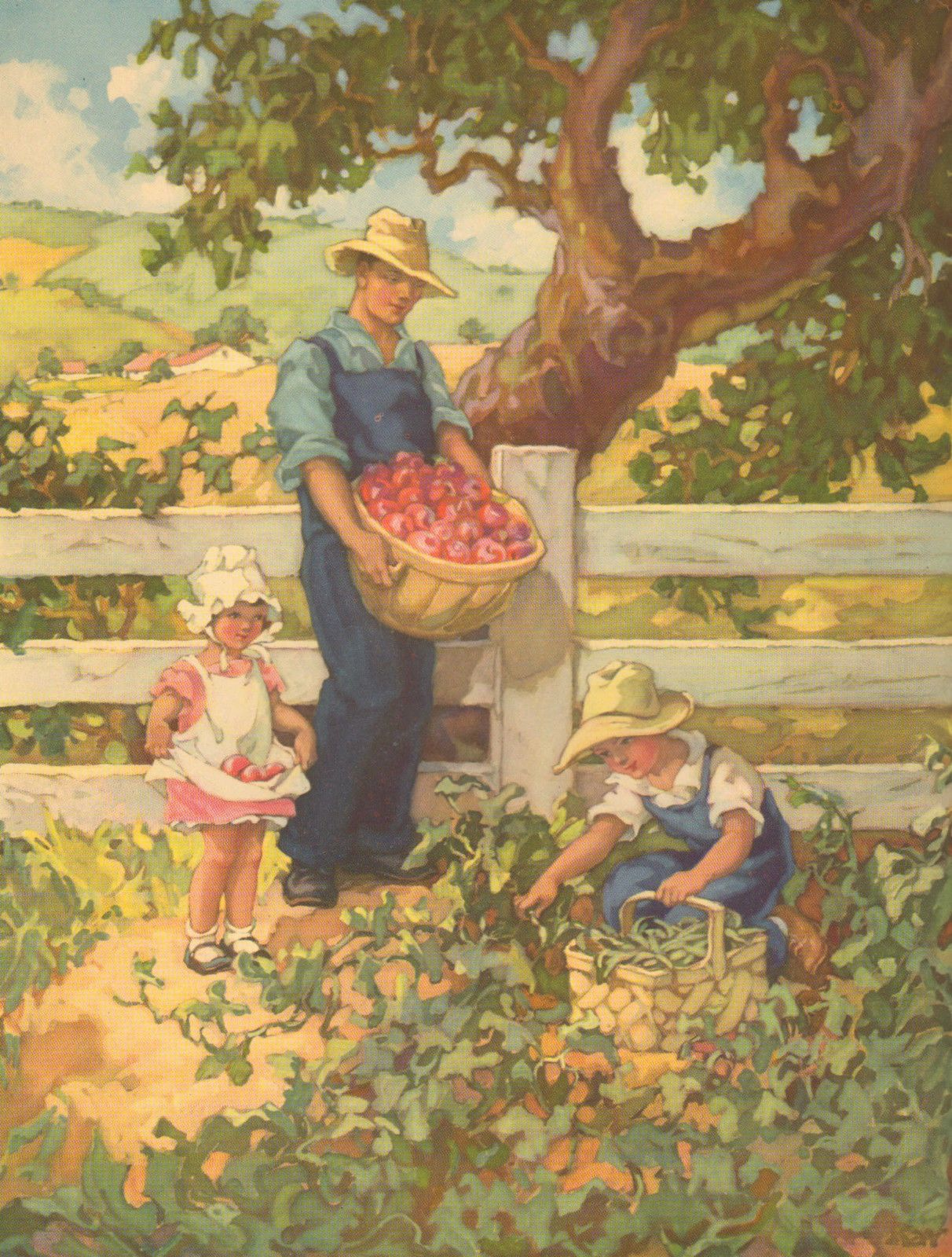 Children Farm Scene Picking Apples Vintage 1948 Antique
