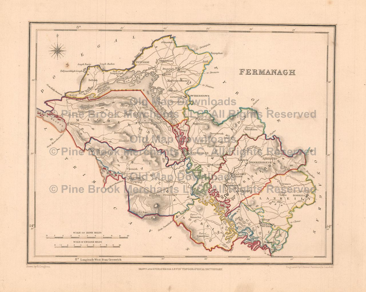Old Map Downloads Fermanagh County Ireland Old Map Lewis - Ireland map download
